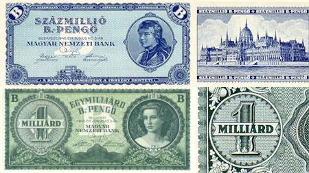 در سال ۱۹۴۶ مجارستان اسکناس ۱۰۰ میلیون میلیارد پنگو را چاپ کرد که میشود 1،000،000،000،000،000،000،00 این همه صفر تنها معادل ۲۰ سنت آمریکا میشد