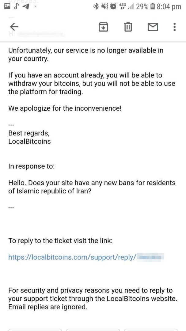 LocalBitcoins Bans Bitcoin Buying in Iran in Blow to Rising Crypto