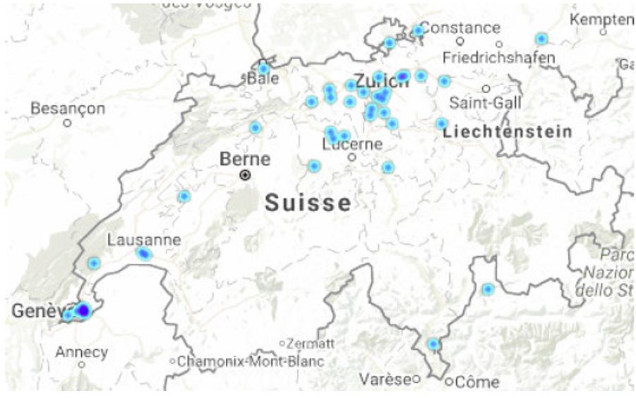 شکل ۱۹: گرههای کامل در کشور سوئیس